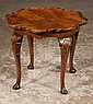 Queen Anne walnut tea table with scalloped pie crust top, cabriole legs, shell carved knees and pad feet, c.1900, 21