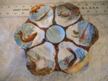 Haviland & Co. Oyster Plate - 6 Wells with pictures of fish in them - 8 3/4