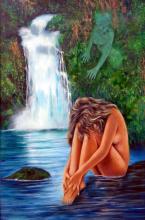 Temptation of Eve-Oil on Wood Original-31 x 47