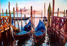 Sunset in St. Giorggio-Oil on canvas by Perssa