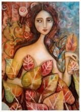 Faithful Eyes-Mixed Media on Paper Original Renata