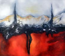 Lava Castle-Mixed Media Original Vargas