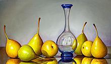 Original Oil Still Life- Bottle & Pears #1