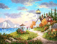 High End Oil Original American Master Dennis Patrick Lewan-The Winery By Sea