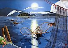 Moonlight Fishing-Oil Original High End Amaya