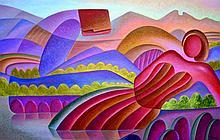 Countryside Landscape-Mixed Media Original Juarez-57 x 36