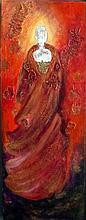 Glowing Lady-Original Oil w/ Silverleaf-Nicole Denarie Saudemont