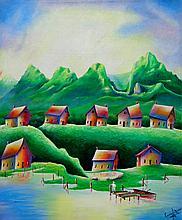 Emerald Village-Acrylic on Canvas by Nunez