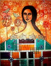 Shawl of Many Colors-Mixed Media Original Renata-  27 x 35