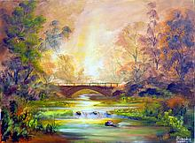 Glowing Bridge -Oil on Canvas Original Zeporov