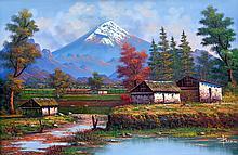 Mountain Landscape-Oil on Canvas Original 24 x 35