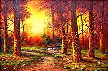 Vermont Sunset-Oil on Canvas Original Franco-24 x 35