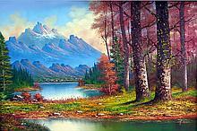 Rocky Mountain Peak-Oil on Canvas Original Franco. 24 x 35