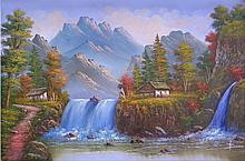Water Falls Cottage-Oil Original 24 x 35
