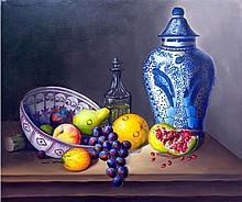 Oil on Canvas-Talavera Vase Still Life
