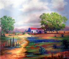 Sweet Little Rancho-Oil on Canvas Original Oropeza