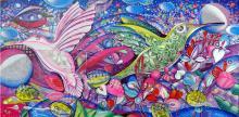 Hummingbird Love-Original Acrylic on Canvas