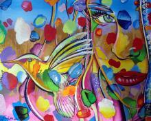 Sweet Hummingbird-Mixed Media Original