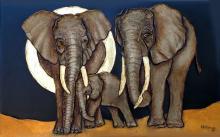 African Elephants-Mixed Media Original-32 x 51