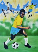Oil Original Hector Monroy-Pele O Rei