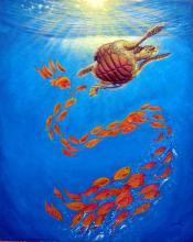 Aquatic Turtle-Mixed Media Original Basurto