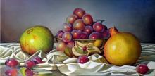 Original Oil Still Life- Pomegranates & Grapes