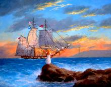 American Master-Oil on Board Original Lewan-Arriving Home
