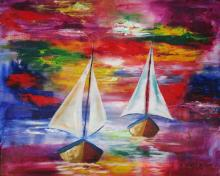 Sailboats-Original Oil on Canvas-Prieto