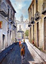 Mexican Cobble Stone Streets-Watercolor Original Cossio