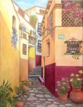 Street Affair-Oil on canvas by Patty Juarez