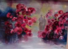 Rose Gardens Abstract-Oil on Canvas Original High End Saudemont