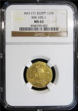 Egypt: Mustafa III gold Zeri Mahbub AH 1171 (1757) MS63 NGC.