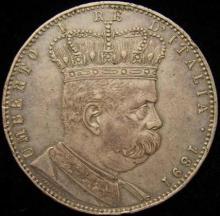 Eritrea: Italian Colony. Umberto 5 Lire/Tallero 1891. XF Condition.