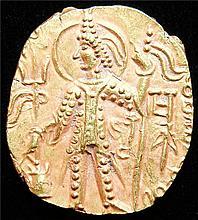 Ancients: INDIA. Kushan Empire. Vasudeva II (ca. AD 290-310). AV dinar (7.84 gm., 21 x 18 mm).