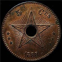 Belgian Congo: Belgian Colony 5 Centimes 1888, BU, KM3.