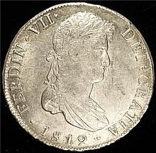 Bolivia: Ferdinand VII 8 Reales 1819 PTS-PJ , KM84.  Uncirculated condition.