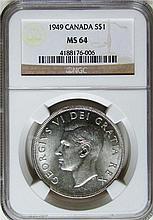 Canada: Canada 1949 $1 Dollar MS64 NGC.