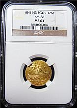 Egypt: Mahmud I gold Zeri Mahbub AH1143  MS64 NGC, KM86.