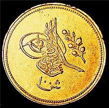 Egypt: Abdul Mejid gold 100 Qirsh AH 1255 Year 5 (1843), XF condition, KM235.2