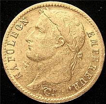 France: Napoleon gold 20 Francs 1812-W  AU, KM695.10.