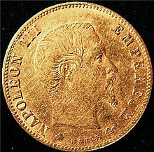 France: Napoleon III gold 5 Francs 1860BB, KM787.2, AU.