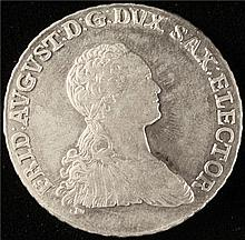 Germany: Saxony. Friedrich August I 2/3 Taler 1765-EDC, KM981. AU.