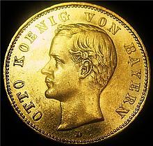 German States: Bavaria. Otto I gold 20 Mark 1895-D, KM 920, AU.