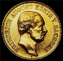German States: Saxony. Friedrich August III gold 20 Mark 1905-E, KM1265.