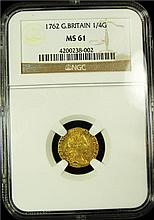Great Britain: George III gold 1/4 Guinea 1762 MS61 NGC, Royal mint, KM592, S-3741.