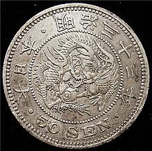 Japan: Meiji 50 Sen Year 33 (1900), XF,  KM-Y25.