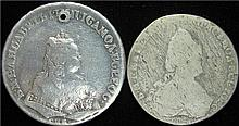 Russia: Elizabeth & Catherine the Great Pair Silver Rubles.