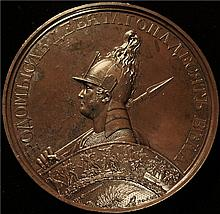 Russia: Nicholas I, Patriotic War Series, Battle of Katzbach Heights 1813, Bronze Medal, 1835, by Klepikov and Lyalin, after Tolstoy.