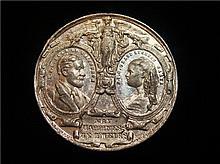 Russia: 1874 Marriage in St Petersburg Maria Alexandrowna and Alfred, Duke of Edinburgh, White Metal Medal.