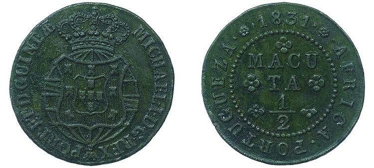 Angola - D. Miguel I - 1/2 Macuta 1831. VERY RARE
